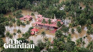 Download Indian PM surveys flood damage in Kerala as the Air Force drops aid to victims Video