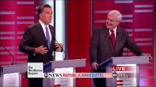 Download Mitt Romney Meets His Match with Formidable Debater Newt Gingrich (ABC News Republican Debate) Video