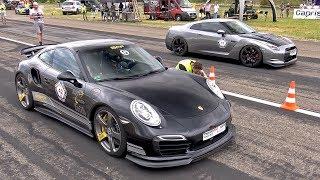 Download 9ff Porsche 991 Turbo S F91 900 vs NISSAN GT-R vs CLS63 AMG Video