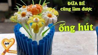 Download Chậu hoa ống hút Đơn giản mà dễ thương ghê - Làm hoa cúc bằng ống hút quà tặng bạn gái 14/2 Video