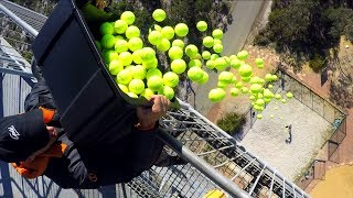 Download CATCHING 100 TENNIS BALLS from 45m TOWER! Video
