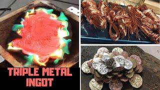 Download Triple Metal Sunken Treasure Ingot Casting - Molten Metal - Copper Brass Aluminium Video