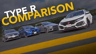 Download Honda Civic Type R vs. Ford Focus RS vs Subaru WRX STI vs. VW Golf R: Sport Compact Comparison Video