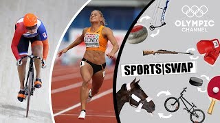 Download Athletics vs Track Cycling - Can They Switch Sports? | Sports Swap Challenge Video