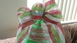 Download How to Make a Deco Mesh Bow- Easiest Bow Ever - Christmas Tree Topper - Wreath Video