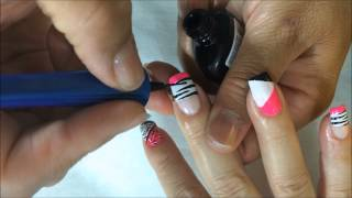 Download como hacer Decorado de uñas paso a paso en colores con animals print en estilo zebra OLNAIL Video