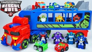 Download Transformers Rescue Bots Optimus Prime Trailer Flip Racers Blurr Sideswipe Bumblebee Race Fast Video