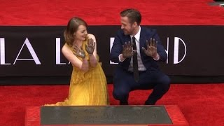 Download Ryan Gosling, Emma Stone immortalized in Hollywood cement Video