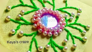 Download Gorgeous mirror hand embroidery tutorial with pearl beads| Mirror work | keya's craze | 2018 Video