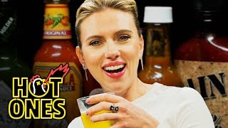 Download Scarlett Johansson Tries To Not Spoil Avengers While Eating Spicy Wings | Hot Ones Video