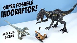 Download Jurassic World Fallen Kingdom Indoraptor and Velociraptor Blue and Owen Mattel Video