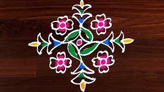 Download Easy Kolam Techiques | Varalakshmi Vratham Unique Rangoli Design by Sunitha 11x1 dots #150 Video