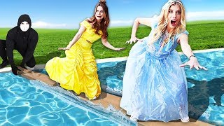 Download Last To Fall In The Pool Wins $10,000 or Game Master Clues! (Disney Princess Challenge) Video