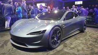 Download Tesla next gen Roadster silver exterior shots Video