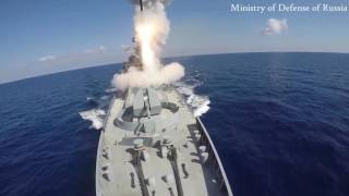 Download Russia blitzes ISIS targets with cruise missiles fired from frigates and a submarine Video