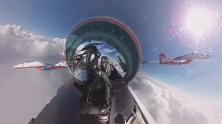 Download Su-27 cockpit 360 video: 'Russian Knights' aerobatic rehearsals for V-Day parade Video