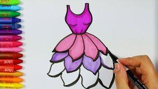 Download Cómo dibujar vestido púrpura💗| Página para colorear | Libros para colorear | Cómo dibujar y colorear Video