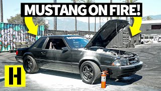 Download Ex-Police Car Ford Mustang Fox Body Throws Flames and Almost Burns Down Video