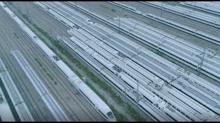 Download Aerial view of largest high-speed train maintenance base in central China Video