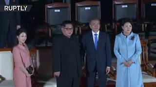 Download Kim and Moon attend farewell ceremony as historic summit concludes Video