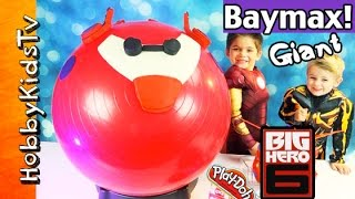Download GIANT Play-Doh BAYMAX Surprise Egg Head! Big Hero 6 Toy Review with HobbyKids Video