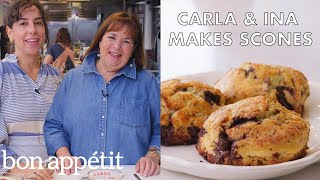Download Carla and Ina Garten Make Chocolate-Pecan Scones | From the Test Kitchen | Bon Appétit Video