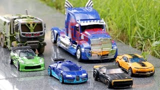 Download Transformers 4 AOE Autobots Bumblebee Optimus Prime Hound Crosshairs Drift Vehicle Robot Car Toys Video