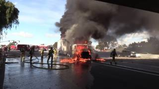 Download National City: Amazing Video I-805 Semi-Truck Fire 01102017 Video