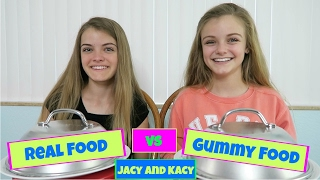 Download Real Food vs Gummy Food Challenge ~ Jacy and Kacy Video