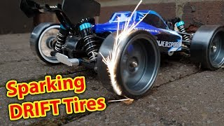 Download Sparking DRIFT Tires on DIRT CHEAP RC CAR - WLToys a959 Drifting Video