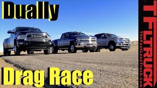 Download Dually Duel: 2017 Ford F-350 vs Chevy Silverado 3500 vs Ram 3500 Drag Race Video