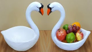 Download Birthday gift showpiece making at home // Swan fruit pot // swan showpiece // Best out of waste Video