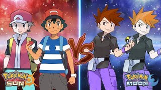 Download Pokemon Sun and Moon: Ash and Red Vs Gary and Blue (Ash Best Team) Video