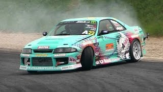 Download 400hp Nissan Skyline R33 Drifting - 2014 King of Europe Round 2 Italy Video