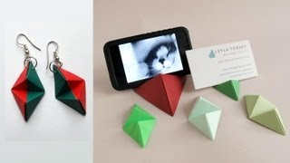 Download Origami Double Pyramid Business Card Stand - Base para tarjetas o iPhone Video