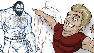Download How to Draw BIG BADASS DUDES - Extreme Male Muscle Anatomy Tutorial! Video