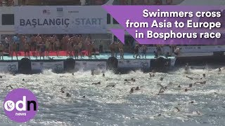 Download Swimmers cross from Asia to Europe in Bosphorus race Video