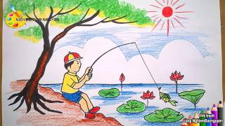 Download Vẽ tranh Bé câu cá/How to Draw Baby Fishing Video
