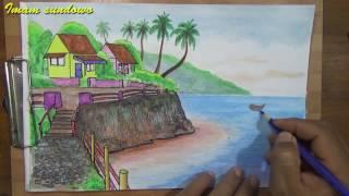 Download Menggambar pemandangan kampung tepi laut Video