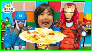 Download Ryan Pretend Play Cooks Breakfast for Avengers Superheroes Video