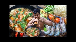 Download Survival Technique Cooking Tom Yam Shrimp Soup with Coconut water Recipe for Food eating delicious Video