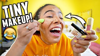 Download TINY MAKEUP CHALLENGE!! Full face of ONLY tiny makeup products. Video