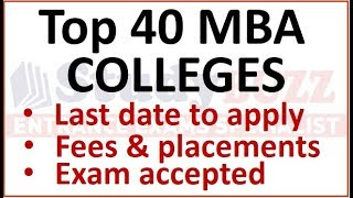 Download Top 40 MBA colleges | Last date to apply, exams accepted, fees structure & average placement Video