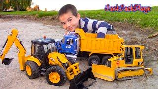 Download Bruder Toy Trucks for Kids - UNBOXING JCB Backhoe - Dump Truck, Tractor Loader, Bulldozer Video