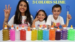 Download 3 COLORS OF GLUE SLIME CHALLENGE family fun video Video