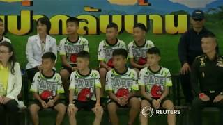 Download Thai boys make first public appearance since cave rescue Video