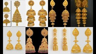 Download Latest gold jhumka traditional style designs//Elegant Gold Jhumka Earrings Models from Bluestone Video