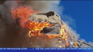 Download Tyrannosaurus Rex Model Goes Up In Flames Video