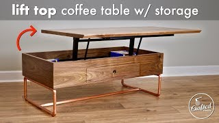 Download Lift Top Coffee Table with Storage & Copper Pipe Base // How To - Woodworking Video