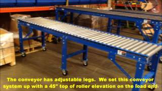 Download HEAVY DUTY GRAVITY ROLLER CONVEYOR WITH CASTERS USED AT WAREHOUSE DOCKS Video